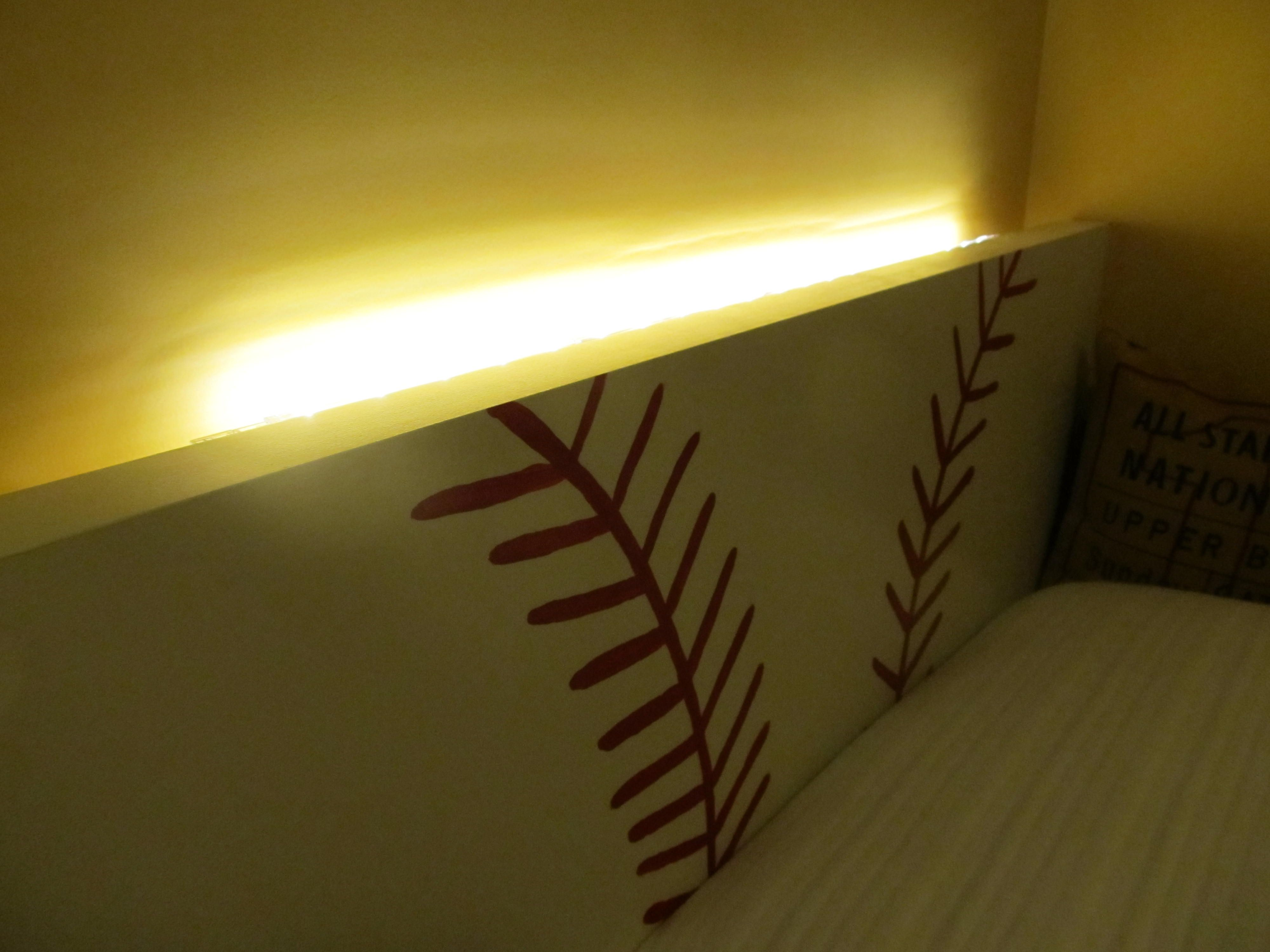 Built In Night Light Glow Screwed Ikea Ledberg Led Strip Along The Back Of Baseball BedLed