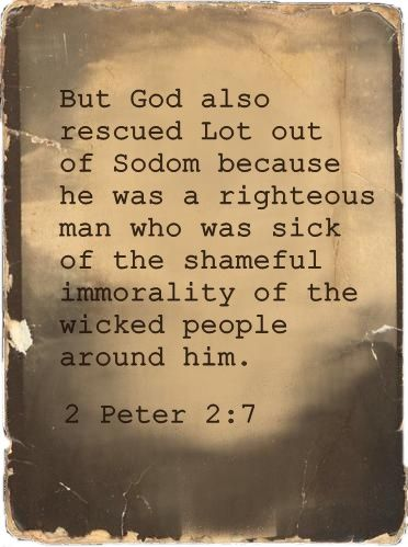 """""""But God also rescued Lot out of Sodom because he was a righteous man who was sick of the shameful immorality of the wicked people around him.""""  2 Peter 2:7 www.pinterest.com"""