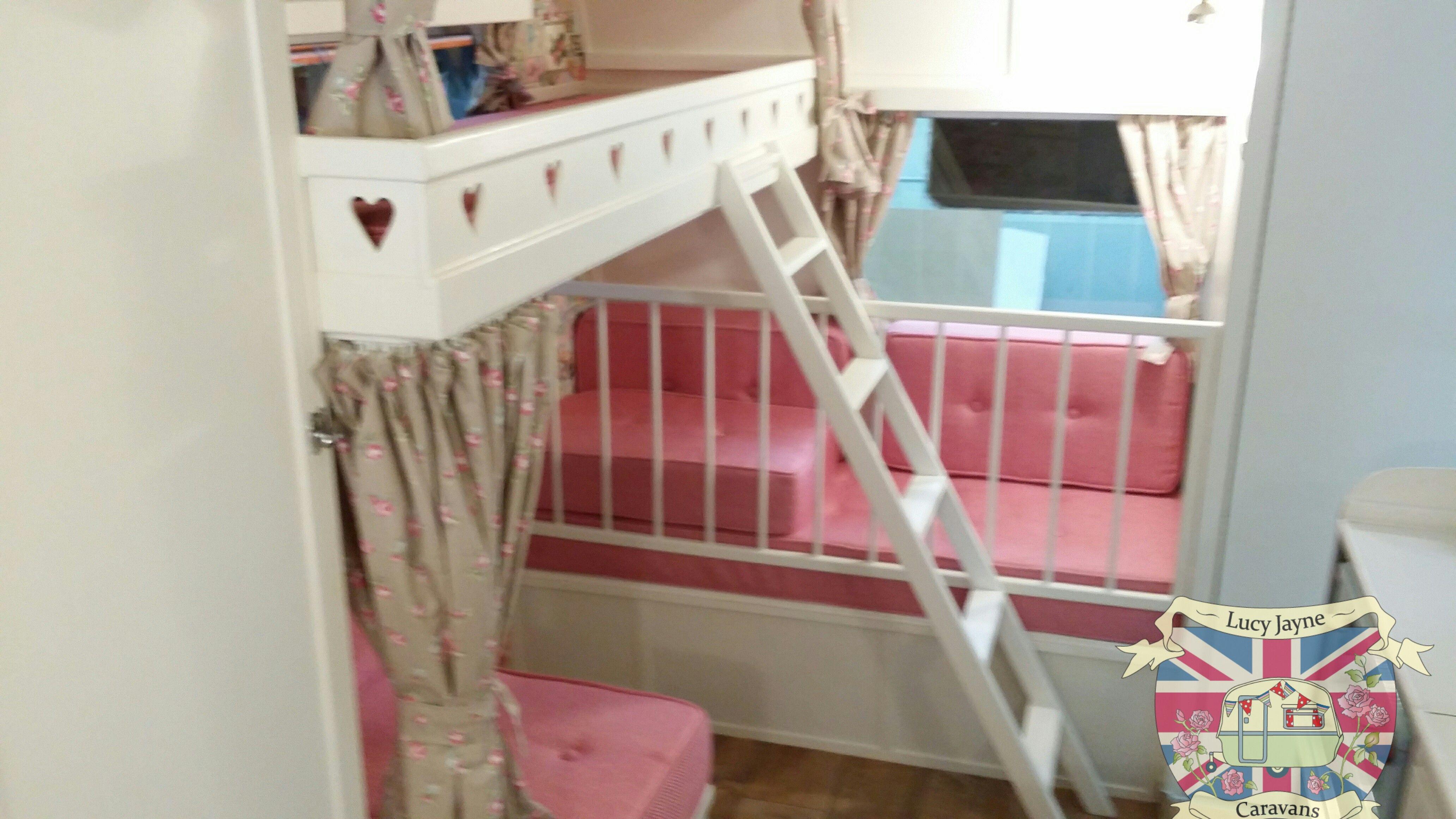 Vintage Caravan Bespoke Built Bunk Beds And Cot
