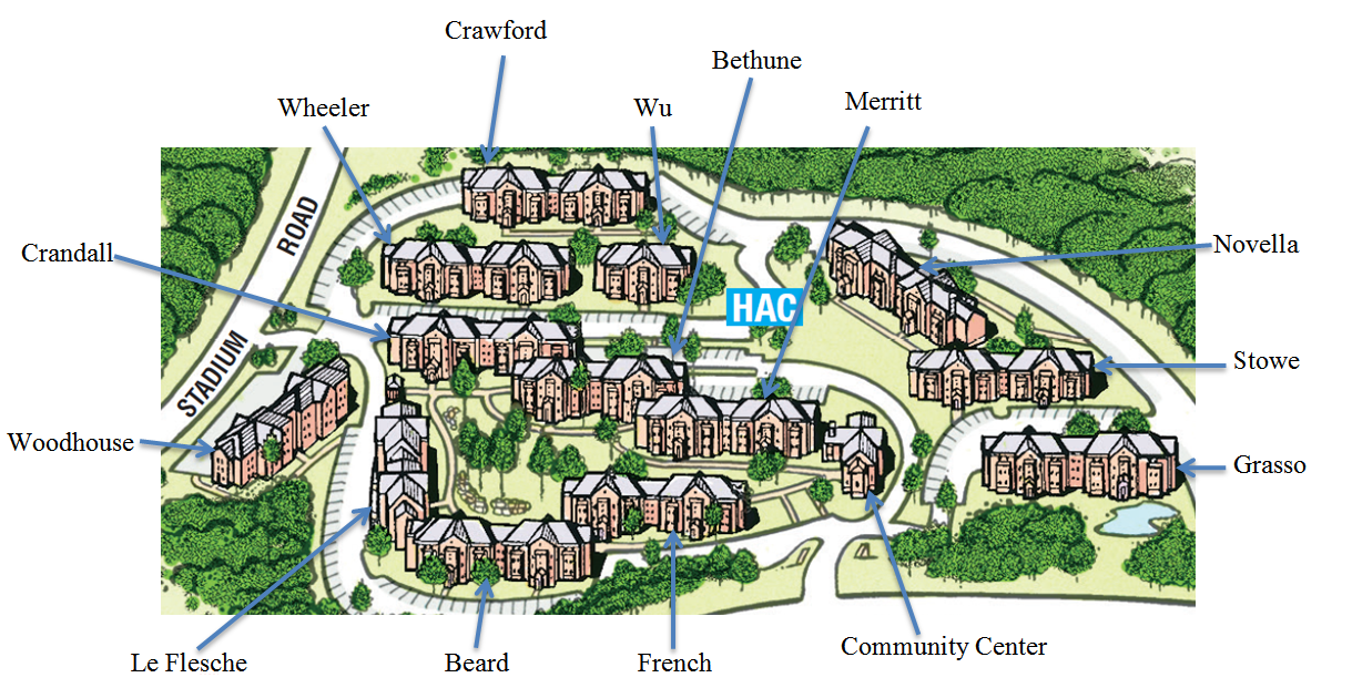 Wonderful UCONN Hilltop Apartments  Map With Names Of Buildings