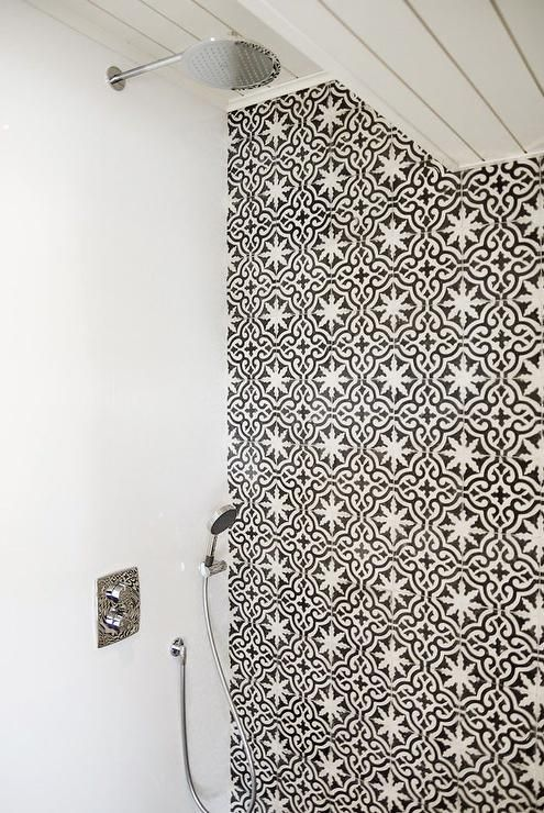 Shower With Black And White Moroccan Tiles Mediterranean Bathroom Moroccan Interiors White Moroccan Tile Moroccan Tiles