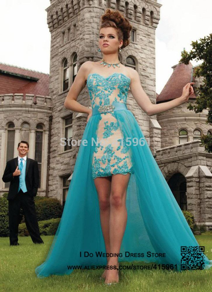 Vestidos-de-festa-Turquoise-Prom-Dress-Short-Front-Long-Back-Lace ...