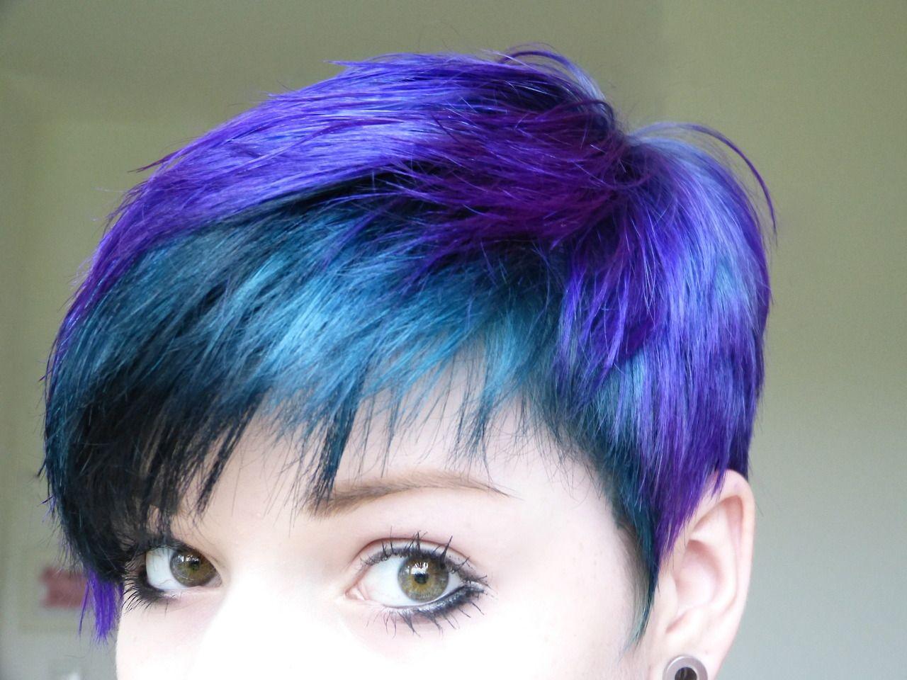 short pixie blue and purple hair