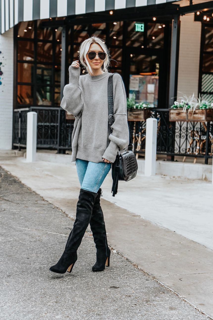 How To Dress Up Basic Jeans And A Sweater Somewhere Lately Tall Boots Outfit Tall Black Boots Outfit Tall Boots Outfit Winter [ 1290 x 860 Pixel ]