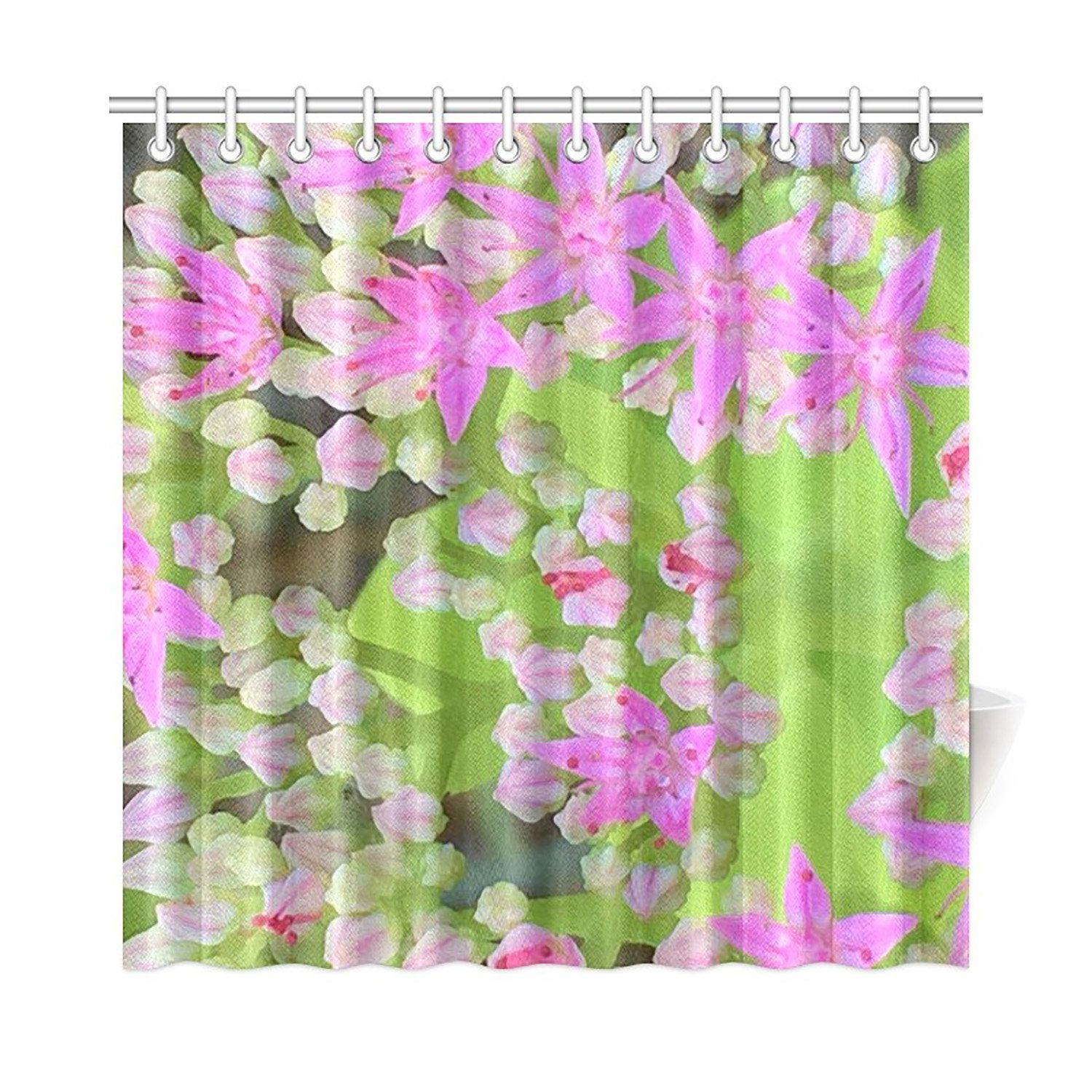 Shower Curtain Hot Pink Succulent Sedum With Fleshy Green Leaves