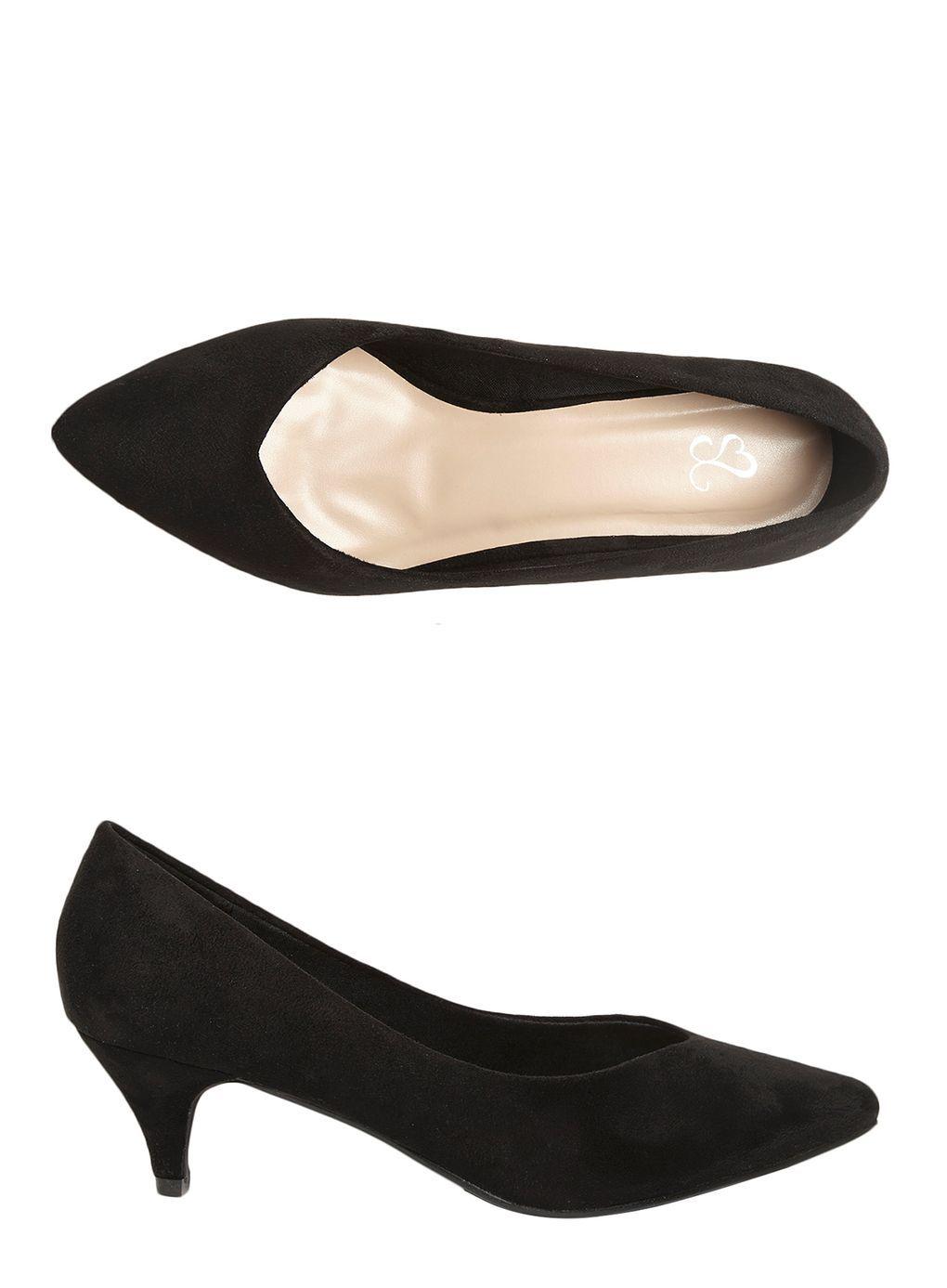 Black Suedette Kitten Heel Court Shoes Heels Court Shoes Kitten Heels