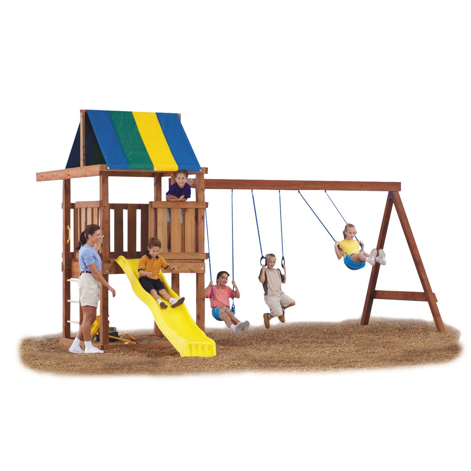 seats spacesaver kids backyard playground swing play slide outdoor itm metal set