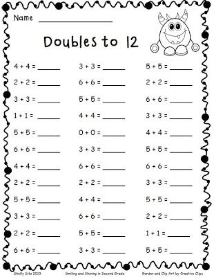 Adding Doubles and a Freebie - Smiling and Shining in Second Grade ...
