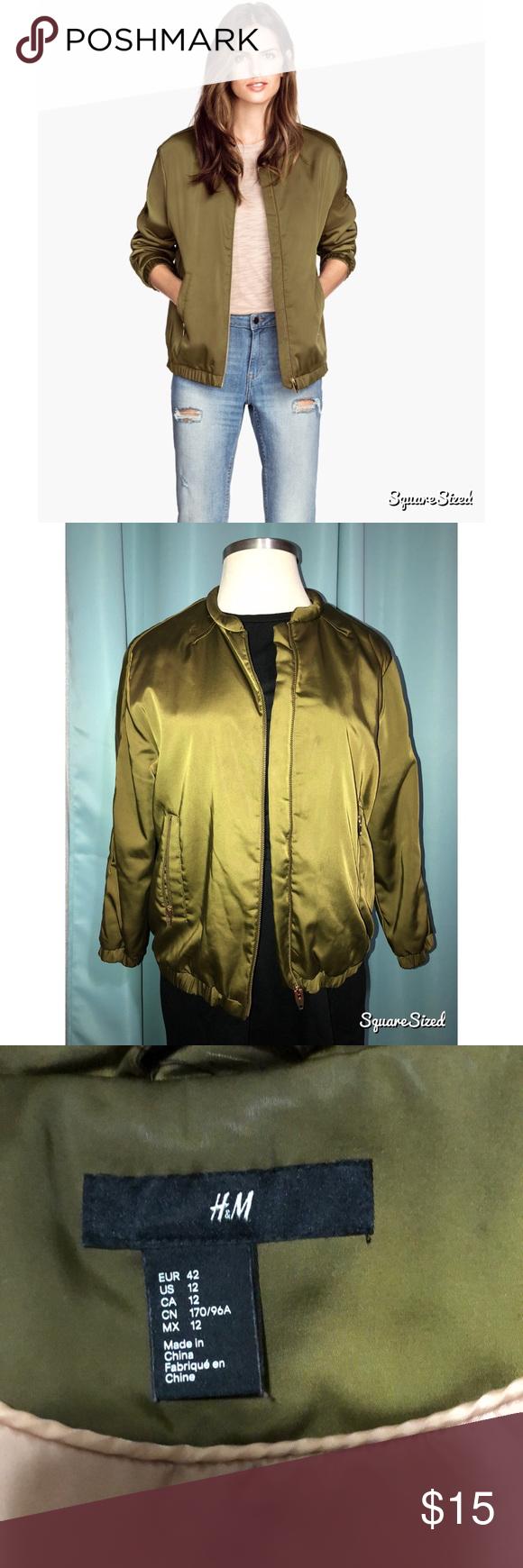 H&M Green Bomber Jacket Green bomber jacket, Bomber