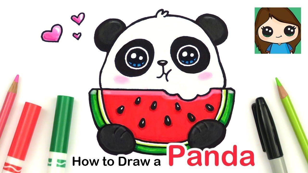 How To Draw A Panda Eating Watermelon Easy Summer Art Series 6 Cute Drawings Cute Easy Drawings Easy Animal Drawings