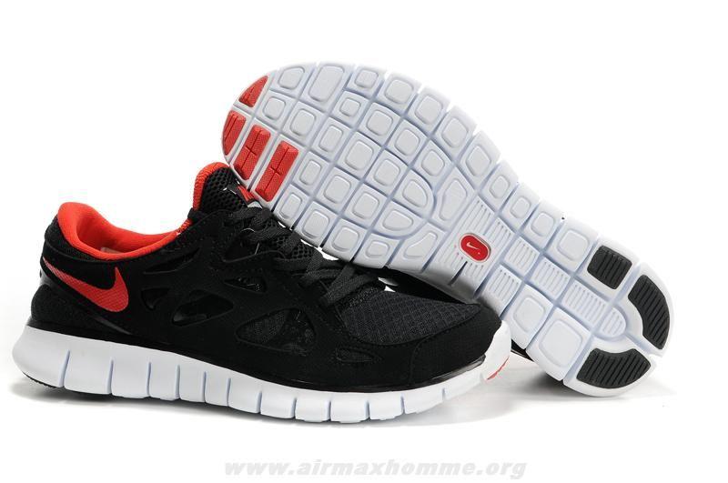 Femmes Nike Free Run 2 443815-101 Noir Rouge