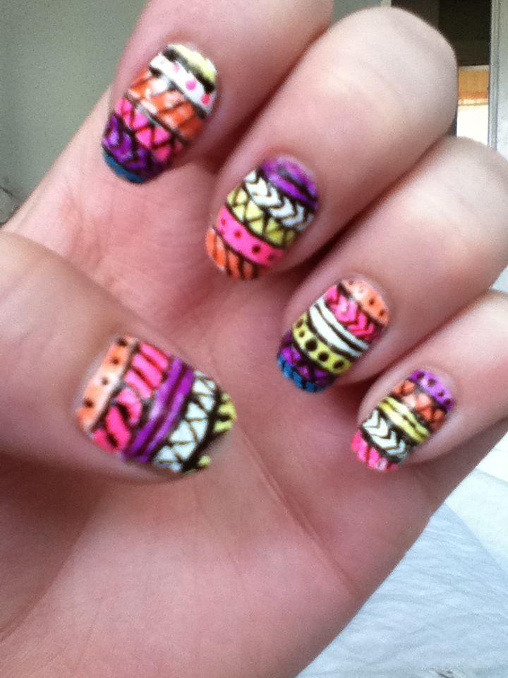 Neon Tribal Nail Art Nails Pinterest
