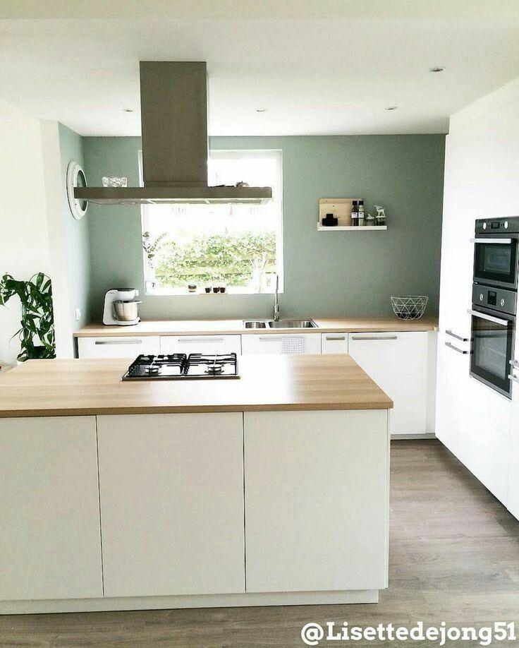 Mooi Combi Houten Blad Witte Kastjes Groene Muur Keuken Ontwerp Keuken Keuken Betonlook