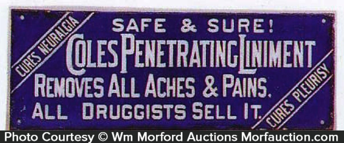 Antique Advertising | Coles Liniment Sign • Antique Advertising