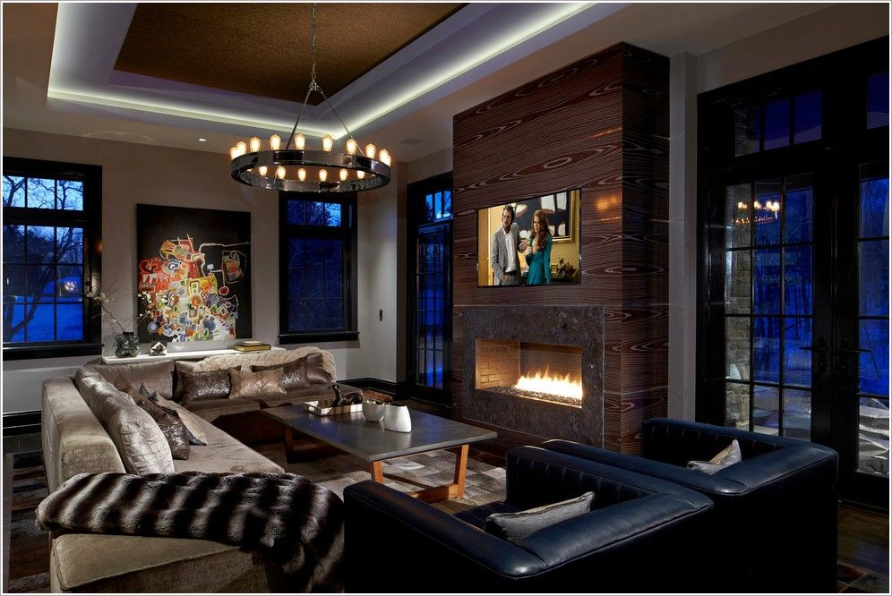 fireplace with built in TV accent wall | Chicago accent ...