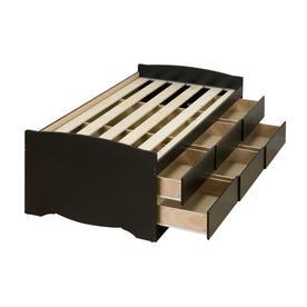 Prepac Captain S Black Twin Platform Bed With Storage Bbt 4106 K