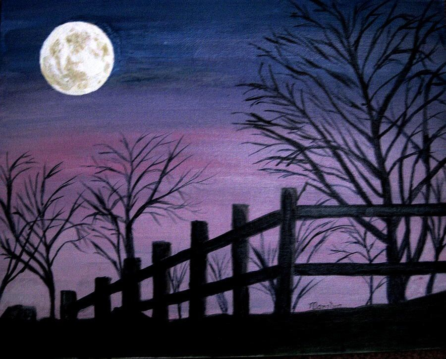 Painting Of Full Moon And Clouds By The Art Sherpa