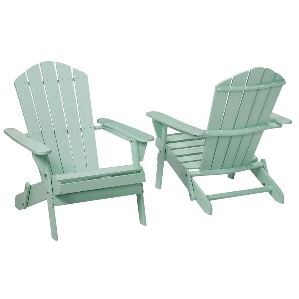 Hampton Bay Mist Folding Outdoor Adirondack Chair 2 Pack 2 1