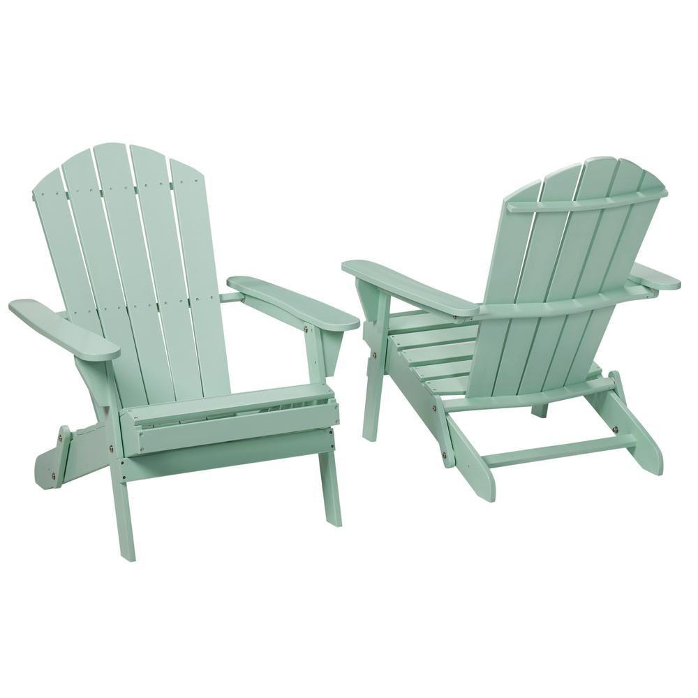 Hampton bay mist folding outdoor adirondack chair 2 pack