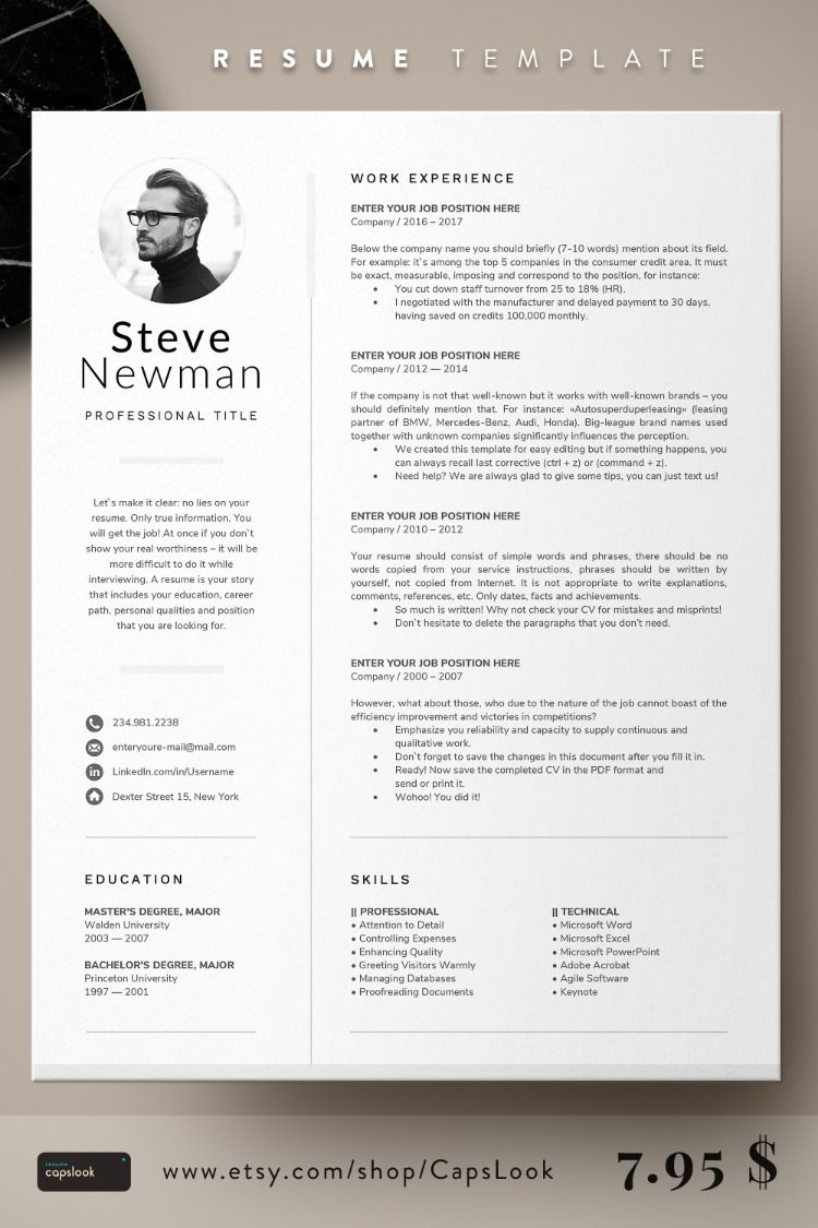 1 Page Resume With Photo Resume Template Infographic Resume Template Resume Design