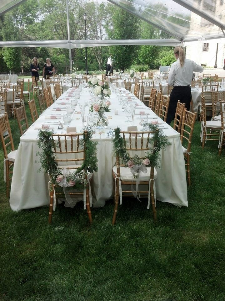 Palace Events Clear Span Tent Round Rectangular Tables Round Rectangular White Tablecloths Gol Wedding Table Decorations Diy Table Gold Chiavari Chairs