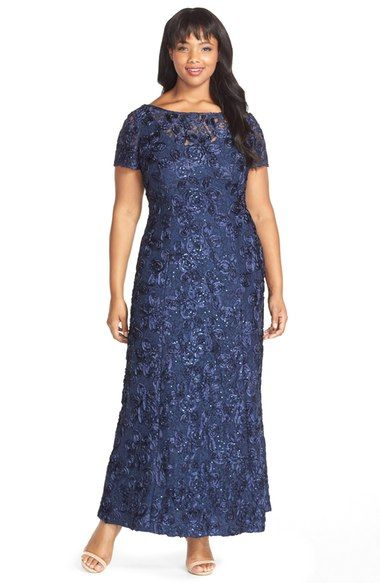 a6903b12 $250 Alex Evenings Rosette Lace Short Sleeve A-Line Gown (Plus Size)  available at #Nordstrom