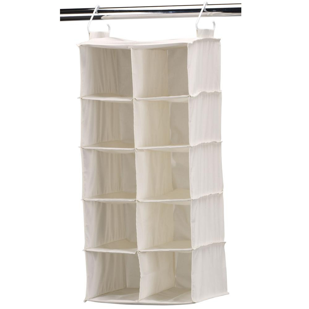 Shoe Racks And Organizers Glamorous 10Pocket Sidebyside Natural Canvas Hanging Shoe Organizer White Design Ideas
