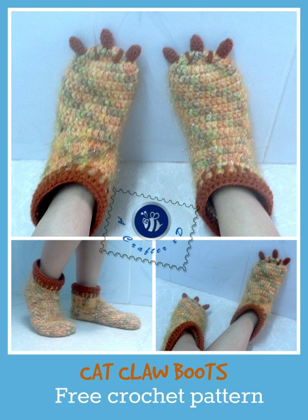 claw boots crochet pattern | **Crochet Boot Cuffs, Slippers, Boots ...
