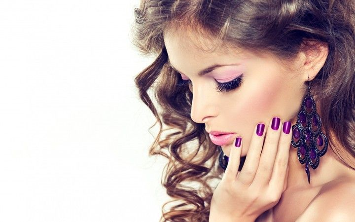 Model Makeup Hair Face Hand Nail Polish Earrings Background