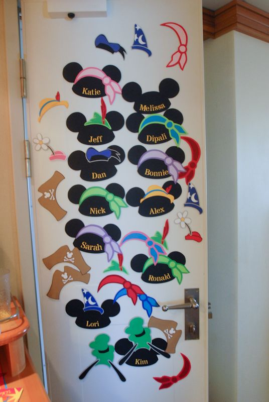 Disney cruise door decorations fun mickey name signs for Decoration names for christmas