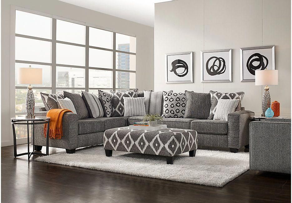 carole court gray 3 pc sectional living room  sectional
