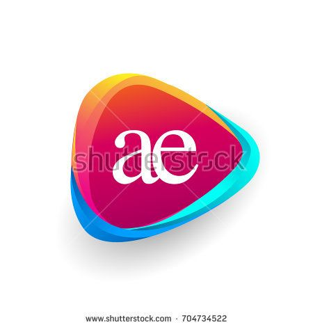 Letter Ae Logo In Triangle Shape And Colorful Background Letter