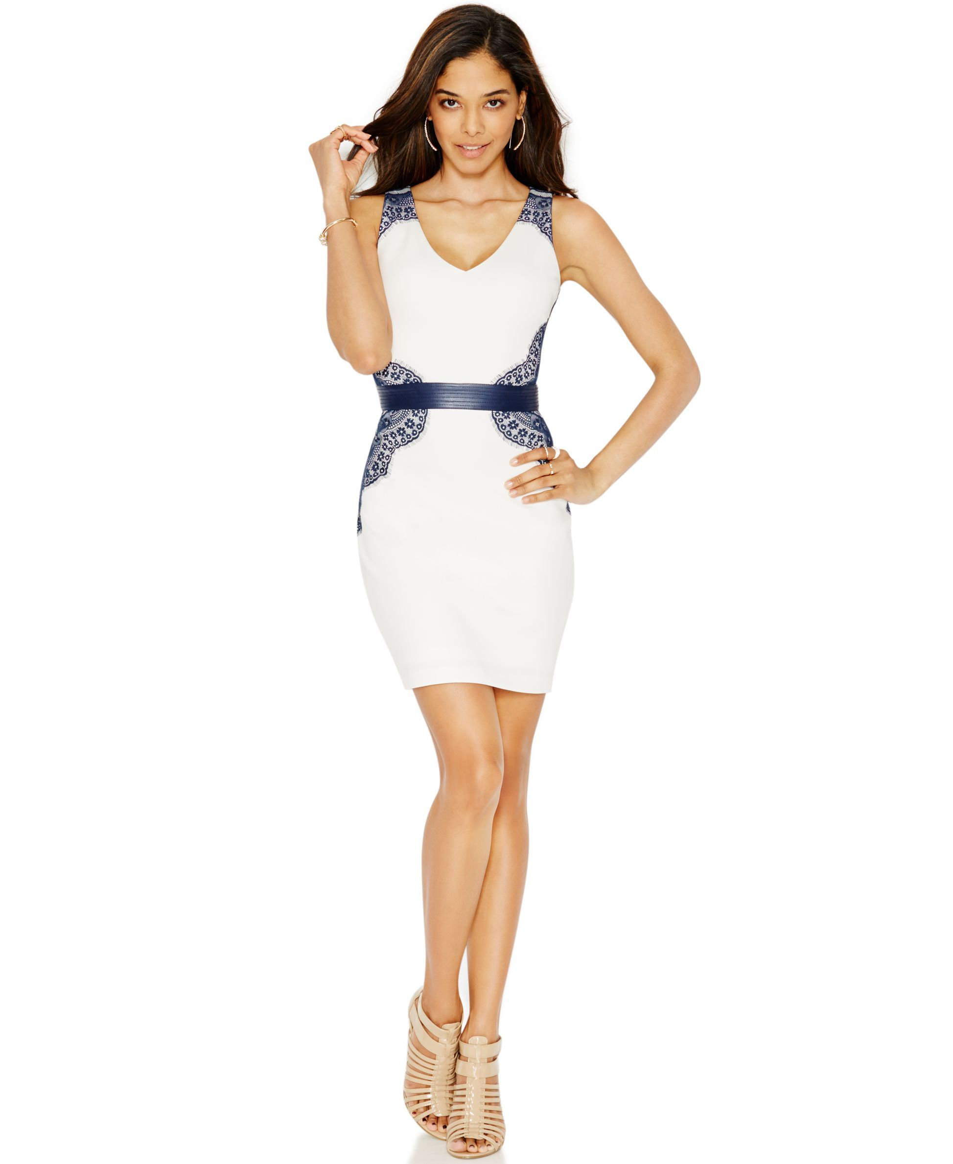 Guess Lace Belted Bodycon Dress | Products | Pinterest | Bodycon ...