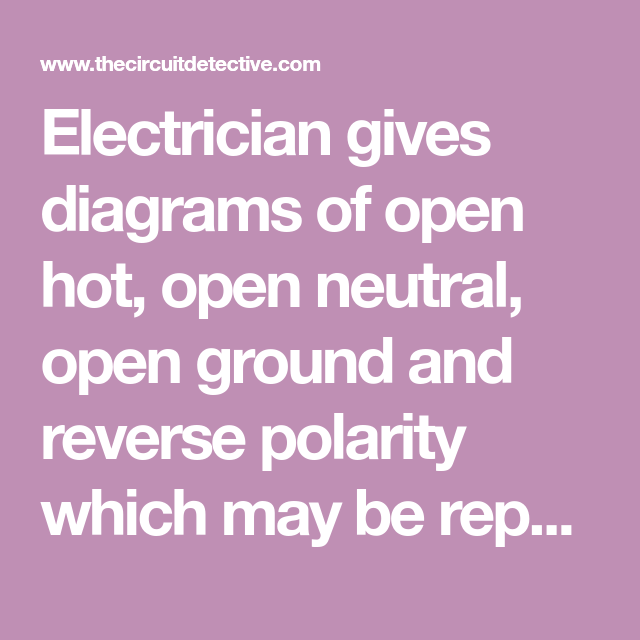 Electrician Gives Diagrams Of Open Hot Open Neutral Open Ground And Reverse Polarity Which May Be Reported In A Electrical Inspection Electricity Electrician