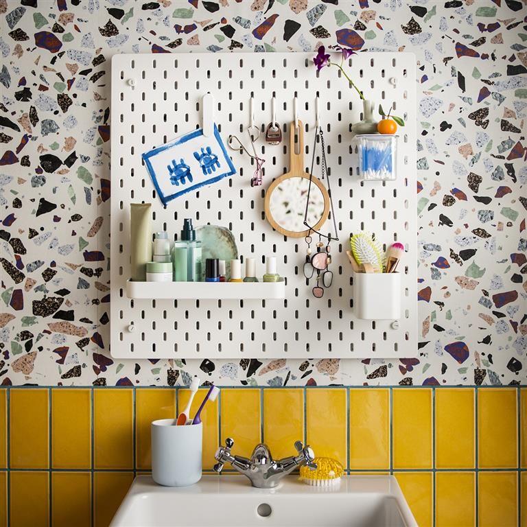 SKÅDIS Lochplatte, weiß   Bathroom essentials, Terrazzo and Interiors