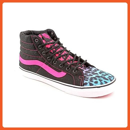 78fcfc7c8f00 Vans Womens Sk8-Hi Slim Leopard Magenta Blue Black Skateboarding Shoes - Athletic  shoes for