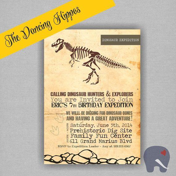 Dinosuaur Dig Paleontology Birthday InvitationArchaeology