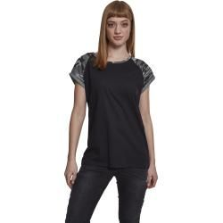 Photo of Urban Classics Ladies Contrast Damen-T-Shirt – schwarz darkcamo Urban Classics