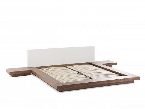 Lit Design X Cm Cadre Avec Chevets Intégrés En Bois Marron - Cadre de lit avec chevet
