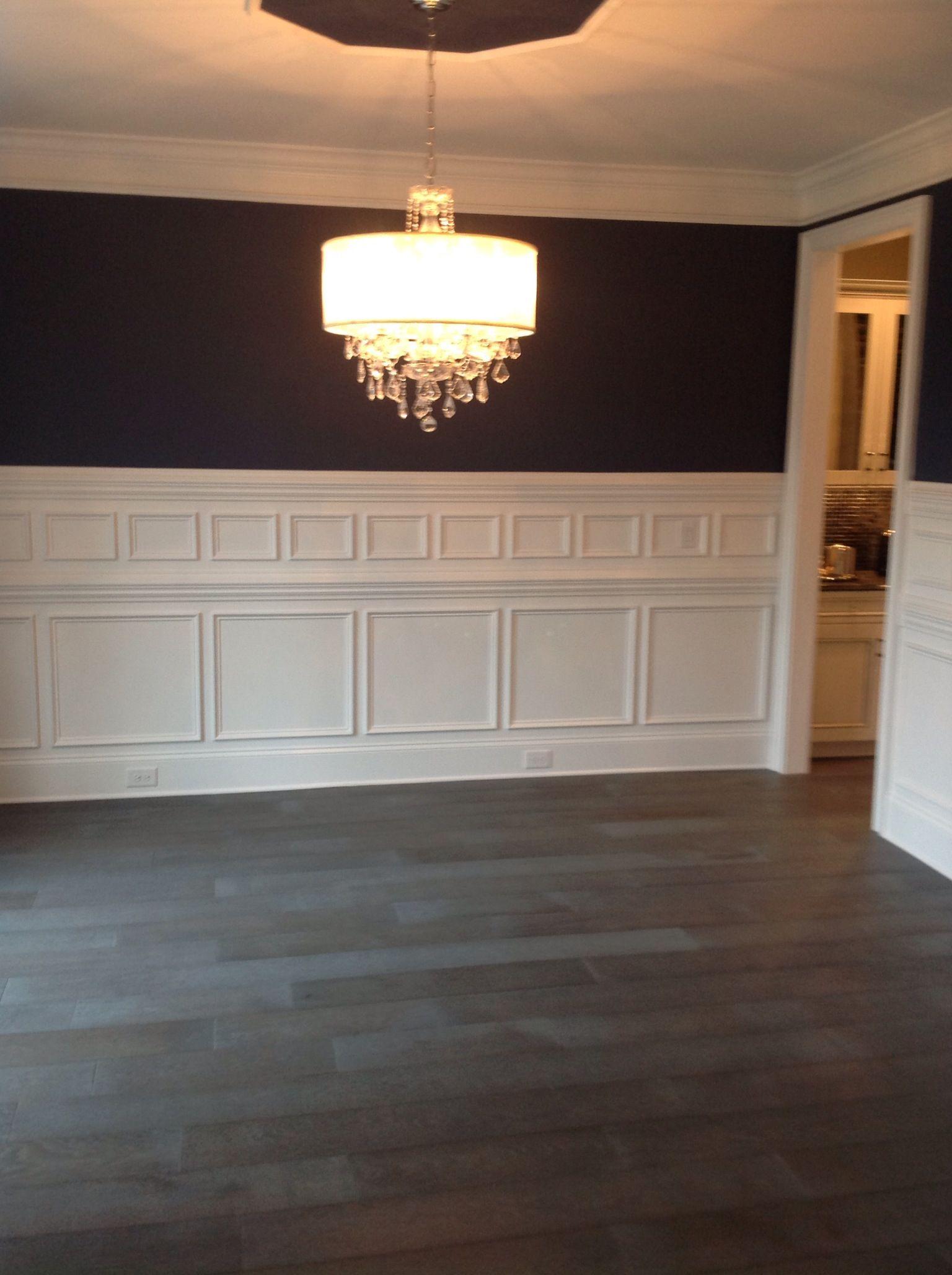 Dining room 5 custom paneling indigo batik paint by sherwin williams chandelier by butler lighting