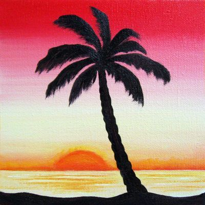 Sunset Sunrise Palm Trees Painting Tree Painting Painting