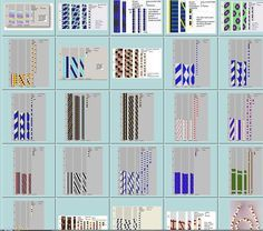 A number of crochet patterns in DB-Bead schemas,  The upper right tells you how many beads around in each row & the total number of beads in a repeat of the pattern.