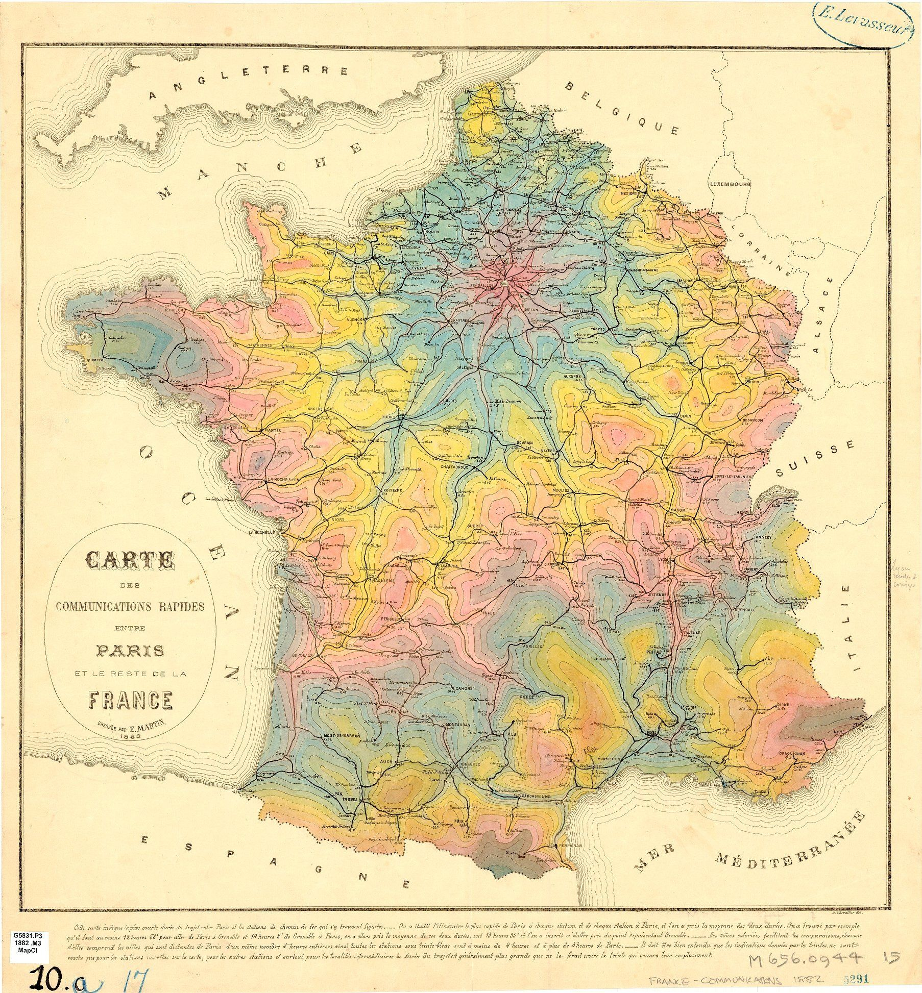 Isochrone Map From Paris For 1882 By E Martin And E Chevaillier