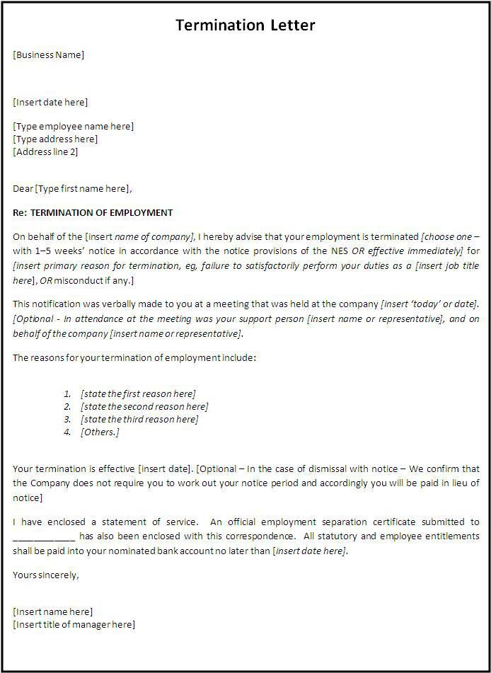 10 Termination Letter Templates With Images Letter Templates