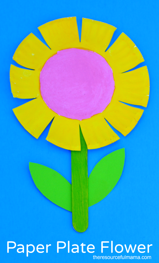Paper Plate Flower Craft for Kids - The Resourceful Mama  sc 1 st  Pinterest & Paper Plate Flower Craft for Kids | Scissor skills Flower crafts ...