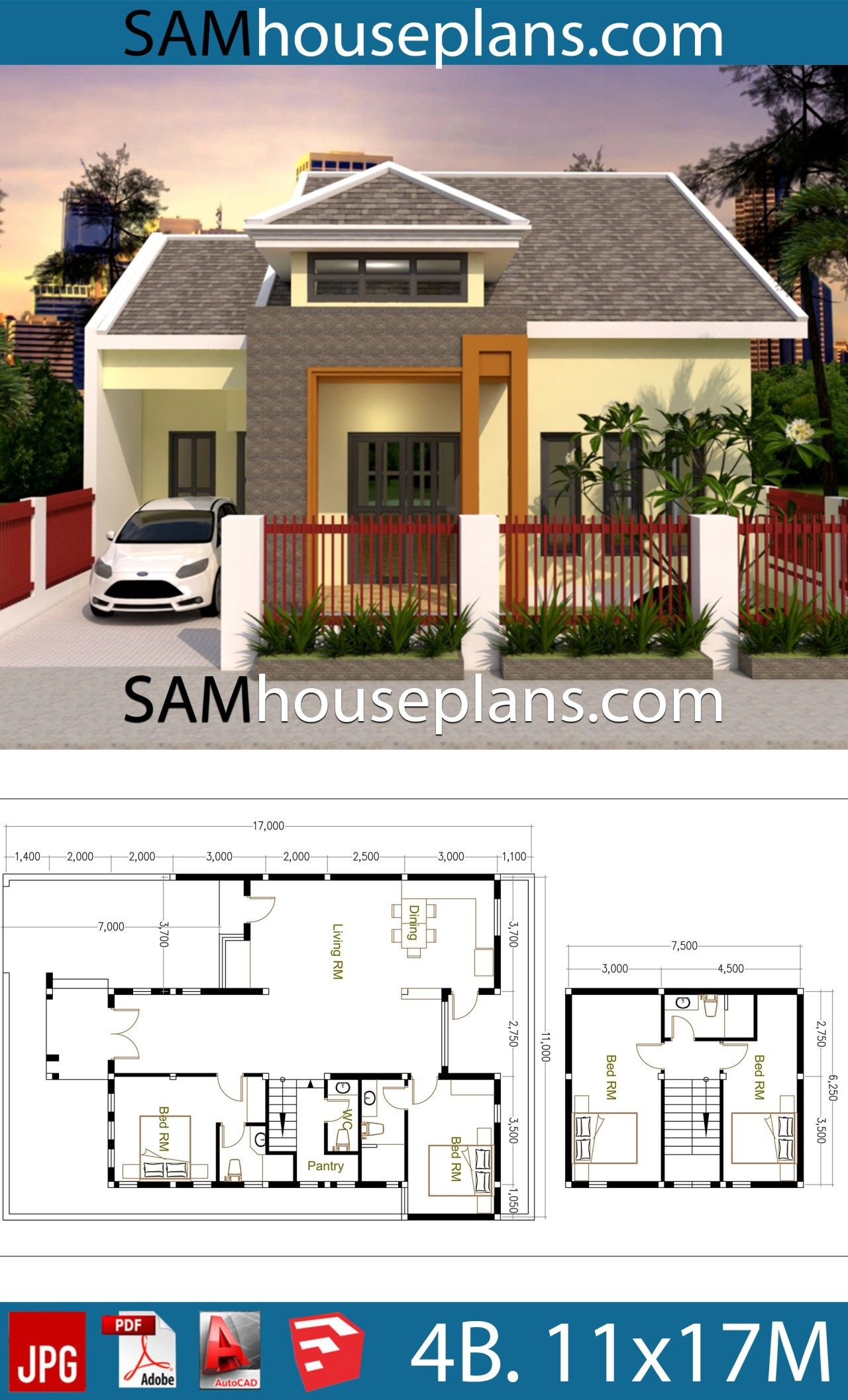 House Plans 11x17 with 4 Bedrooms in 2020 | House plans ...