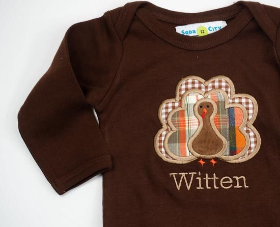 Baby Turkey Outfit – Baby Thanksgiving Shirt – Boys Turkey Shirt – Gingham Pants – Baby Boy Thanksgi