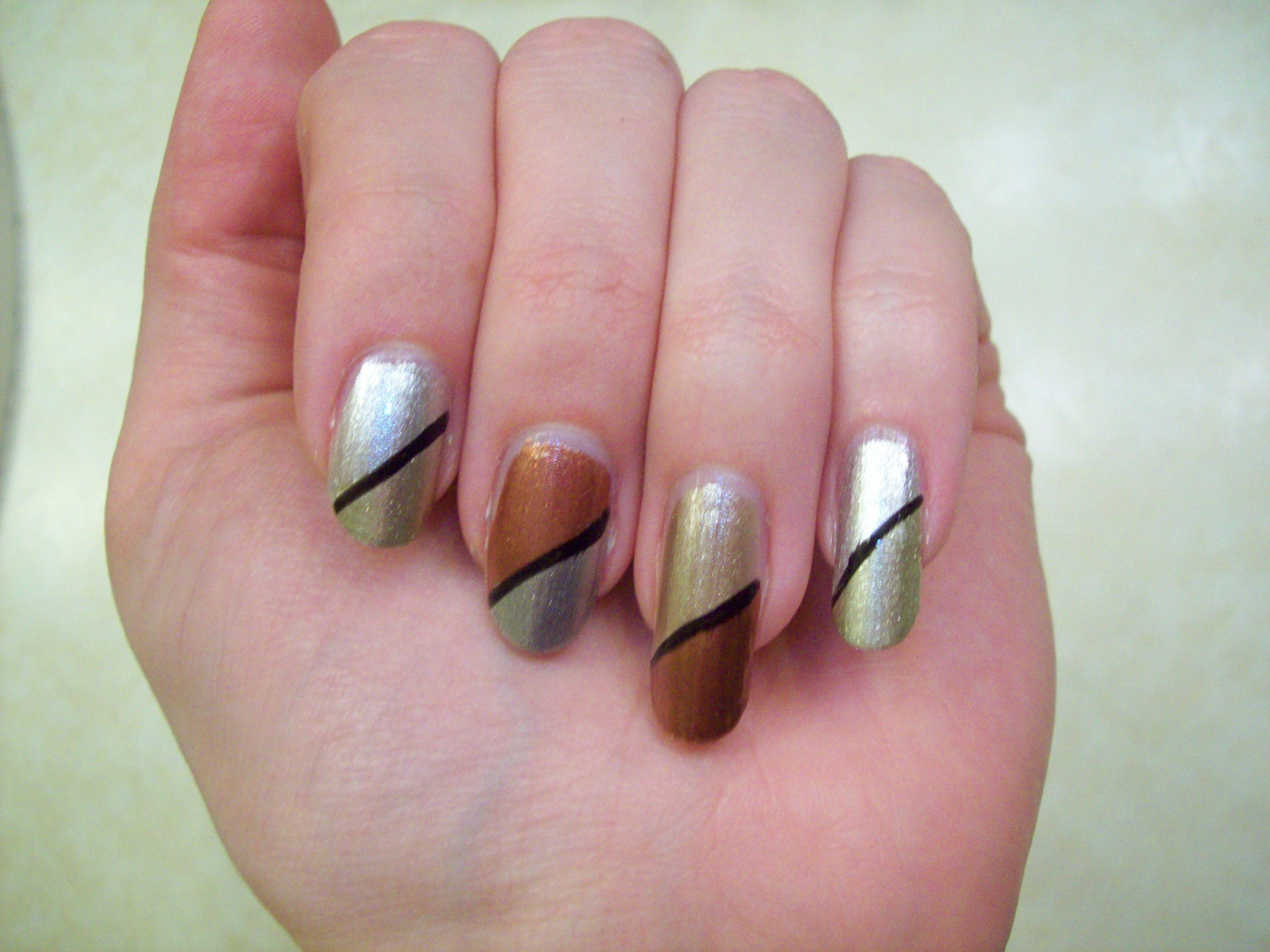 Diagonal split using Olympics colors | My Nail Art | Pinterest | Colors