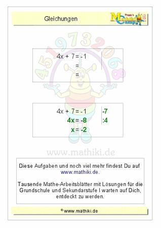 Berechnung der Gleichung (8x+10=90) - ©2016, www.mathiki.de - Ihre ...