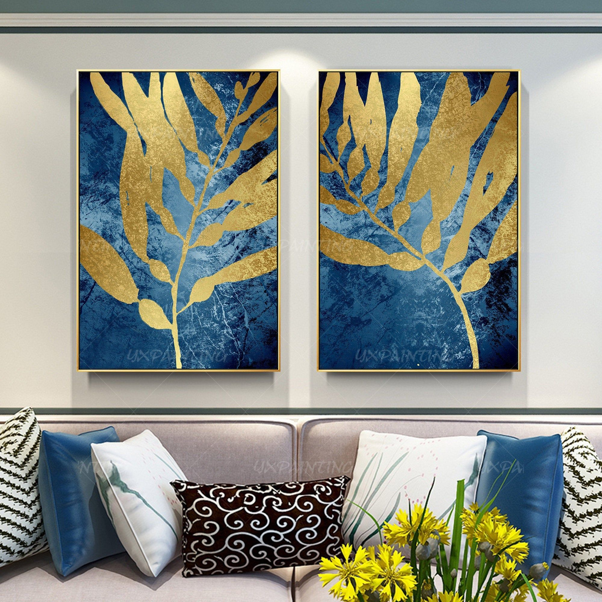 Gold Leaf Set Of 2 Wall Art Navy Blue Abstract Wall Art Etsy Abstract Wall Art Blue Abstract Wall Art Abstract Art Painting